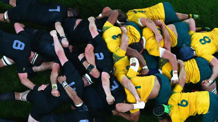 Rugby scrum arial shot - australia v new zealand - bledisloe cup tickets