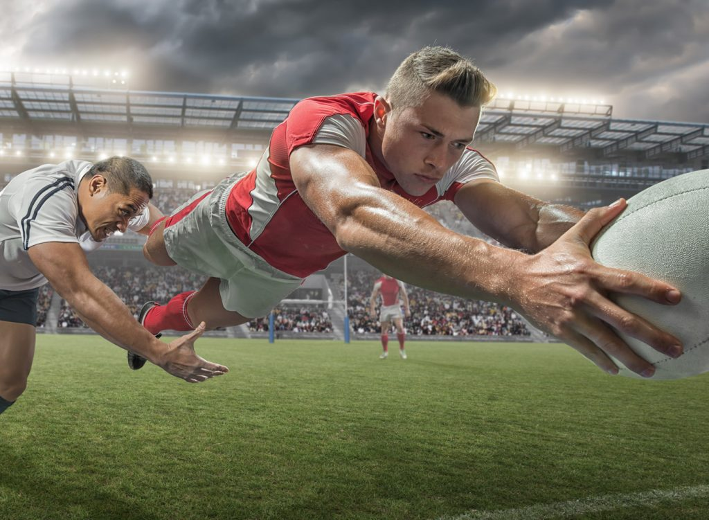rugby tackle as players dives for the line - hong kong sevens