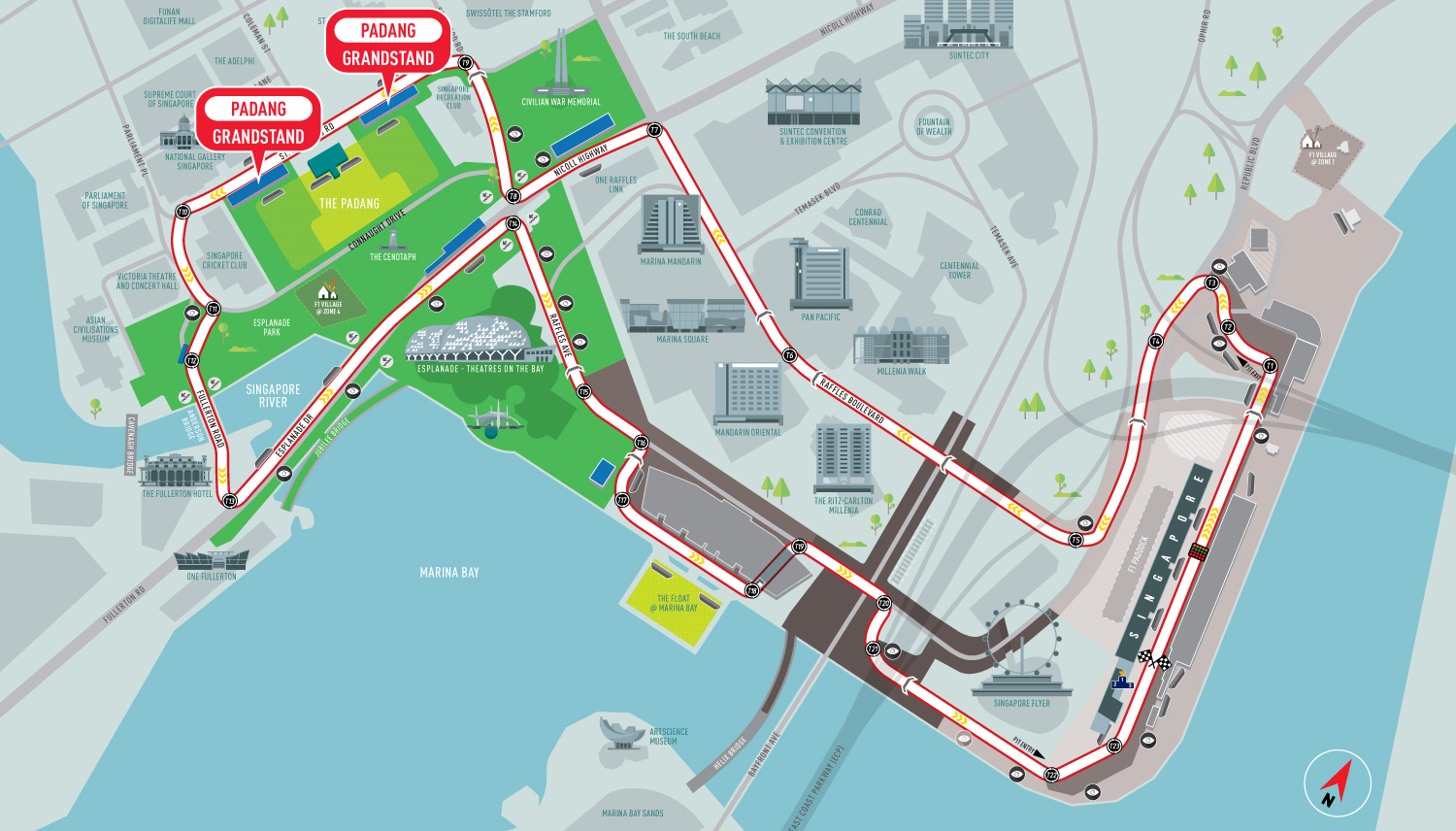 Padang racetrack map Singapore Grand Prix Packages