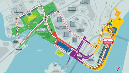Pit Grandstand racetrack map Singapore Grand Prix Packages