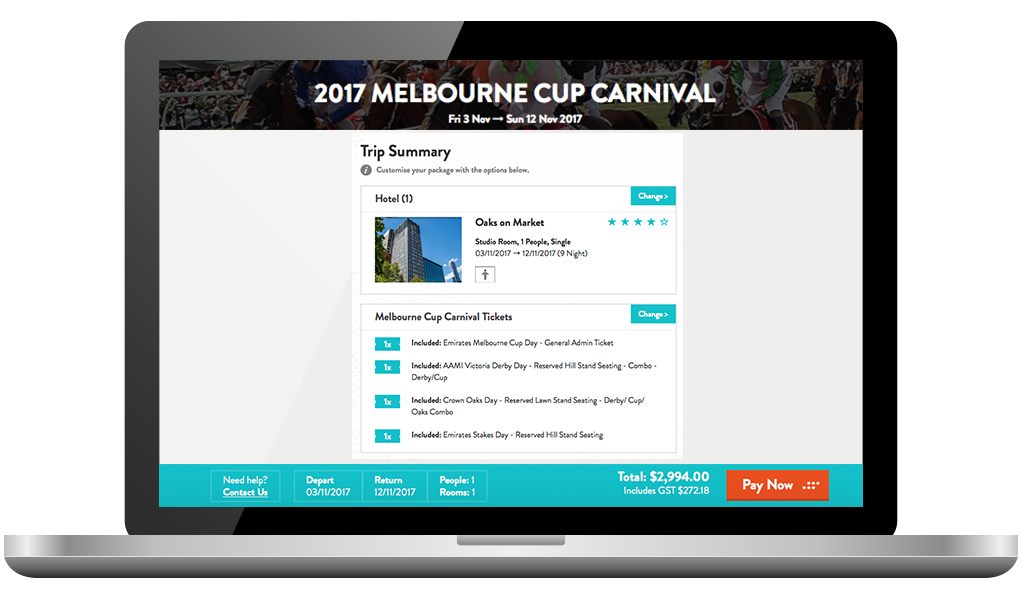 BOOKING package screen for melbourne cup