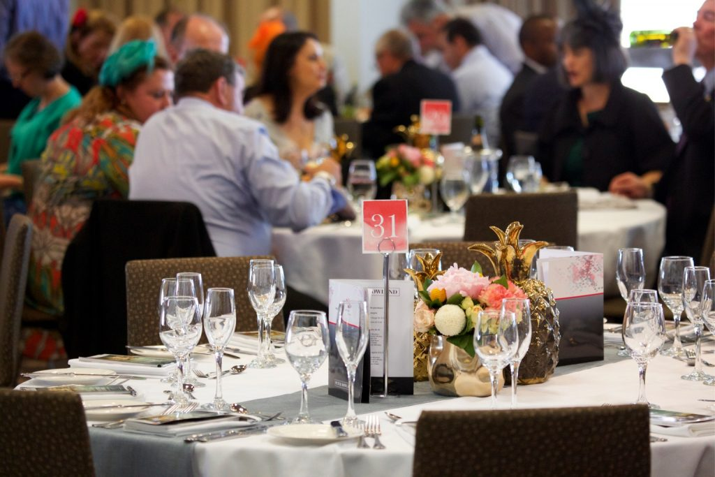 Dining settings inside the Panorama restaurant table placement in the terrace restaurant for melbourne cup carnival