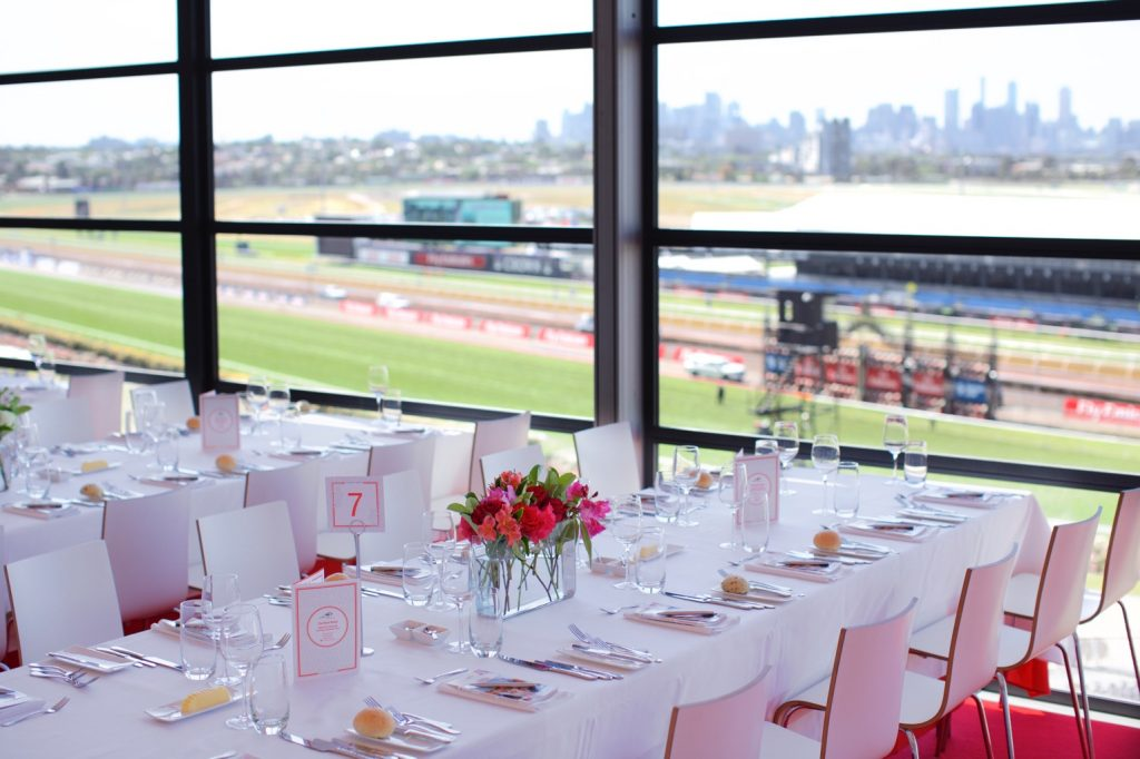 dining placement with view of melbourne inside rose room table placement in the terrace restaurant for melbourne cup carnival