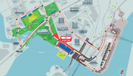 Bay Grandstand racetrack map Singapore Grand Prix Packages